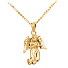 Load image into Gallery viewer, Praying Angel Pendant in Gold - solid gold, solid gold jewelry, handmade solid gold jewelry, handmade jewelry, handmade designer jewelry, solid gold handmade designer jewelry, chic jewelry, trendy jewelry, trending jewelry, jewelry that's trending, handmade chic jewelry, handmade trendy jewelry, mod-chic jewelry, handmade mod-chic jewelry, designer jewelry, chic designer jewelry, handmade designer, affordable jewelry