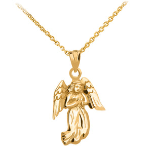 Praying Angel Pendant in Gold - solid gold, solid gold jewelry, handmade solid gold jewelry, handmade jewelry, handmade designer jewelry, solid gold handmade designer jewelry, chic jewelry, trendy jewelry, trending jewelry, jewelry that's trending, handmade chic jewelry, handmade trendy jewelry, mod-chic jewelry, handmade mod-chic jewelry, designer jewelry, chic designer jewelry, handmade designer, affordable jewelry