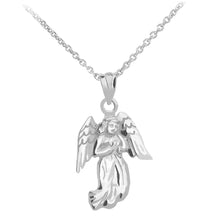 Load image into Gallery viewer, Praying Angel Pendant in Sterling Silver - solid gold, solid gold jewelry, handmade solid gold jewelry, handmade jewelry, handmade designer jewelry, solid gold handmade designer jewelry, chic jewelry, trendy jewelry, trending jewelry, jewelry that's trending, handmade chic jewelry, handmade trendy jewelry, mod-chic jewelry, handmade mod-chic jewelry, designer jewelry, chic designer jewelry, handmade designer, affordable jewelry