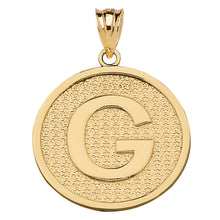 Load image into Gallery viewer, Initial Letter Alphabet Pendant Necklace in Gold - solid gold, solid gold jewelry, handmade solid gold jewelry, handmade jewelry, handmade designer jewelry, solid gold handmade designer jewelry, chic jewelry, trendy jewelry, trending jewelry, jewelry that's trending, handmade chic jewelry, handmade trendy jewelry, mod-chic jewelry, handmade mod-chic jewelry, designer jewelry, chic designer jewelry, handmade designer