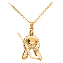 Load image into Gallery viewer, Hockey Goalie Player Pendant in Gold