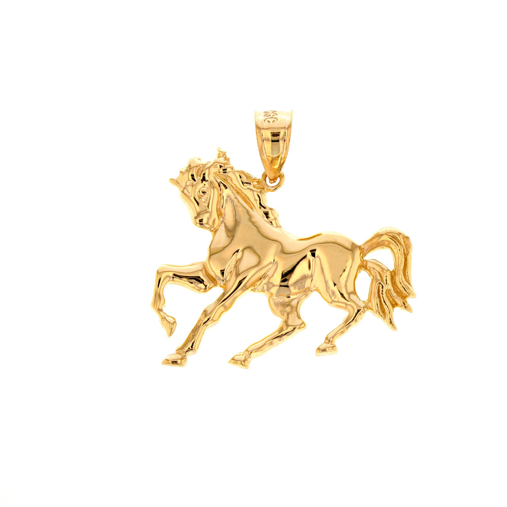 Running Stallion Race Horse Pendant in Gold (hollow back) - solid gold, solid gold jewelry, handmade solid gold jewelry, handmade jewelry, handmade designer jewelry, solid gold handmade designer jewelry, chic jewelry, trendy jewelry, trending jewelry, jewelry that's trending, handmade chic jewelry, handmade trendy jewelry, mod-chic jewelry, handmade mod-chic jewelry, designer jewelry, chic designer jewelry, handmade designer, affordable jewelry