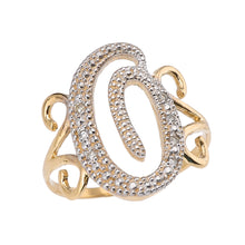 Load image into Gallery viewer, Modern Cursive Alphabet Diamond Initial Rings A-Z in Gold - solid gold, solid gold jewelry, handmade solid gold jewelry, handmade jewelry, handmade designer jewelry, solid gold handmade designer jewelry, chic jewelry, trendy jewelry, trending jewelry, jewelry that's trending, handmade chic jewelry, handmade trendy jewelry, mod-chic jewelry, handmade mod-chic jewelry, designer jewelry, chic designer jewelry, handmade designer