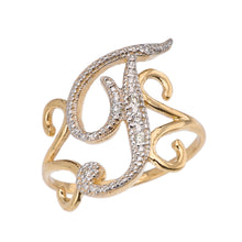 Load image into Gallery viewer, Modern Cursive Alphabet Diamond Initial Rings A-Z in Gold - solid gold, solid gold jewelry, handmade solid gold jewelry, handmade jewelry, handmade designer jewelry, solid gold handmade designer jewelry, chic jewelry, trendy jewelry, trending jewelry, jewelry that's trending, handmade chic jewelry, handmade trendy jewelry, mod-chic jewelry, handmade mod-chic jewelry, designer jewelry, chic designer jewelry, handmade designer, affordable jewelry
