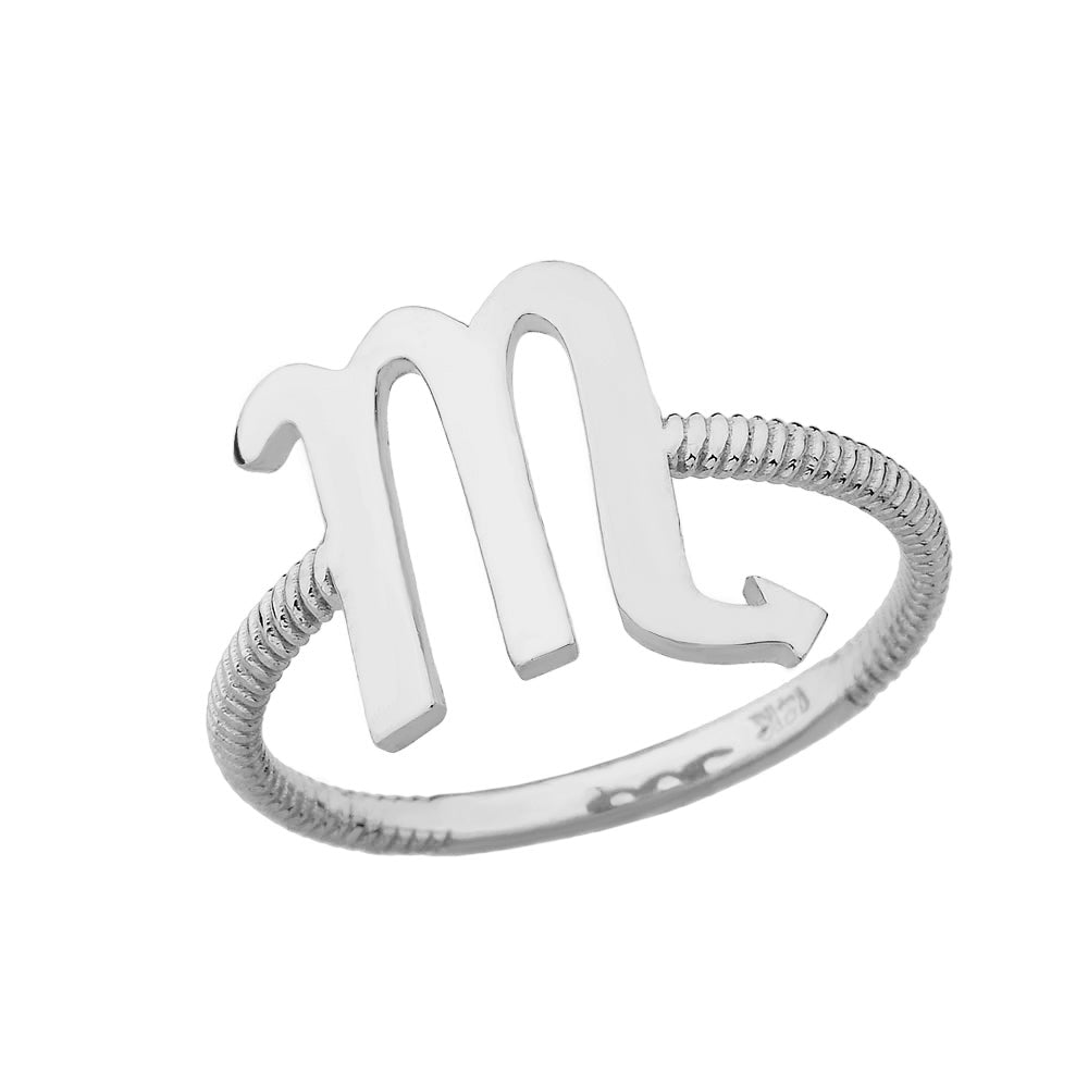 CaliRoseJewelry Sterling Silver Pisces Zodiac Horoscope Rope Ring
