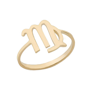 Zodiac Horoscope Rings in Gold Plain Band