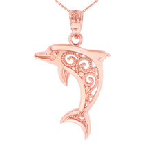Load image into Gallery viewer, Graceful Dolphin Filigree Charm Pendant in Gold - solid gold, solid gold jewelry, handmade solid gold jewelry, handmade jewelry, handmade designer jewelry, solid gold handmade designer jewelry, chic jewelry, trendy jewelry, trending jewelry, jewelry that's trending, handmade chic jewelry, handmade trendy jewelry, mod-chic jewelry, handmade mod-chic jewelry, designer jewelry, chic designer jewelry, handmade designer