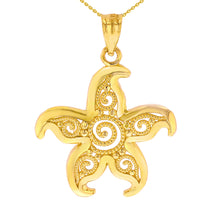 Load image into Gallery viewer, Beautiful Filigree Starfish Pendant in Gold
