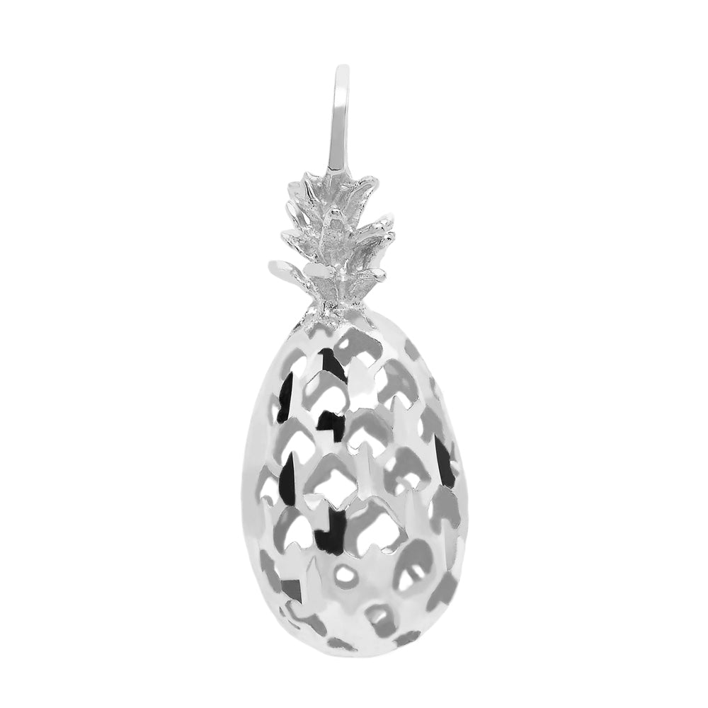 3D Pineapple Pendant in Sterling Silver