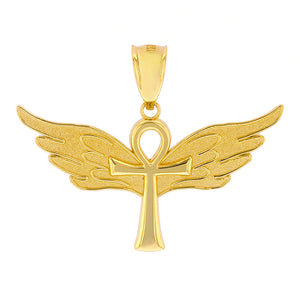 Ankh w/ Angel Wings Charm Pendant in Gold