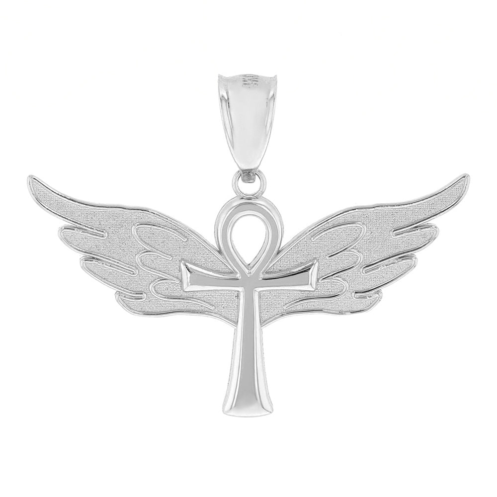Ankh w/ Angel Wings Charm Pendant in Sterling Silver