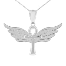 Load image into Gallery viewer, Ankh w/ Angel Wings Charm Pendant in Sterling Silver