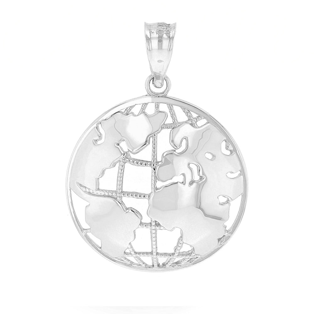 World Globe Charm Pendant In Sterling Silver