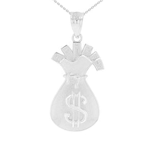 Money Bag Filled with Cash Pendant in Sterling Silver