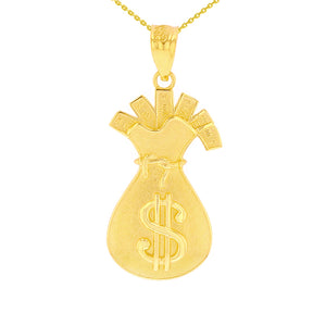 Money Bag Filled with Cash Pendant in Gold
