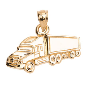 Big Rig Truck Driver Pendant in Gold