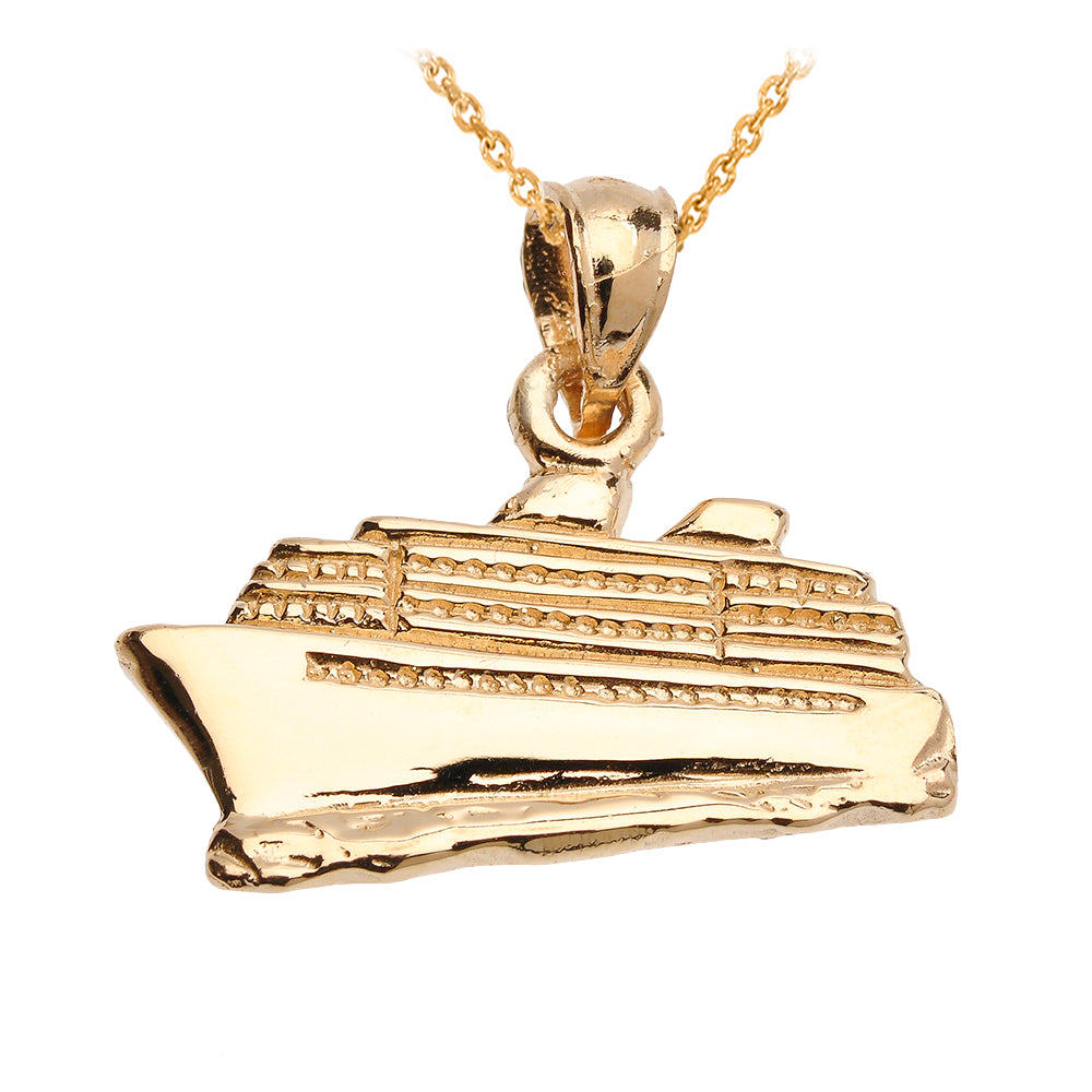 Cruise Ship Pendant in Gold