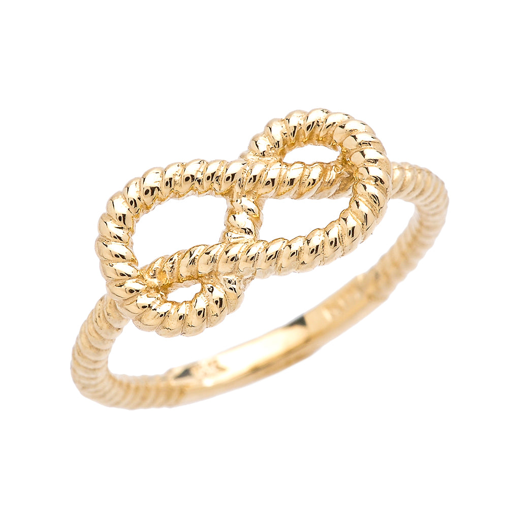 Twisted Style Rope Band Love Knot Promise Ring in Gold - solid gold, solid gold jewelry, handmade solid gold jewelry, handmade jewelry, handmade designer jewelry, solid gold handmade designer jewelry, chic jewelry, trendy jewelry, trending jewelry, jewelry that's trending, handmade chic jewelry, handmade trendy jewelry, mod-chic jewelry, handmade mod-chic jewelry, designer jewelry, chic designer jewelry, handmade designer, affordable jewelry
