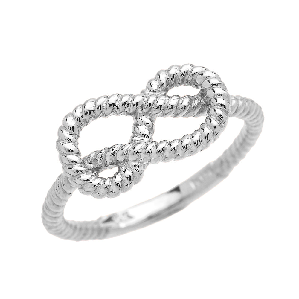 Twisted Style Rope Band Love Knot Promise Ring in Sterling Silver - solid gold, solid gold jewelry, handmade solid gold jewelry, handmade jewelry, handmade designer jewelry, solid gold handmade designer jewelry, chic jewelry, trendy jewelry, trending jewelry, jewelry that's trending, handmade chic jewelry, handmade trendy jewelry, mod-chic jewelry, handmade mod-chic jewelry, designer jewelry, chic designer jewelry, handmade designer, affordable jewelry