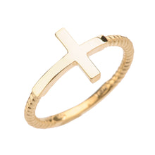 Load image into Gallery viewer, Twisted Rope Band Sideways Cross Ring in Gold - solid gold, solid gold jewelry, handmade solid gold jewelry, handmade jewelry, handmade designer jewelry, solid gold handmade designer jewelry, chic jewelry, trendy jewelry, trending jewelry, jewelry that's trending, handmade chic jewelry, handmade trendy jewelry, mod-chic jewelry, handmade mod-chic jewelry, designer jewelry, chic designer jewelry, handmade designer, affordable jewelry