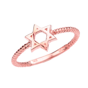 Twisted Rope Band Jewish Star of David Ring in Gold - solid gold, solid gold jewelry, handmade solid gold jewelry, handmade jewelry, handmade designer jewelry, solid gold handmade designer jewelry, chic jewelry, trendy jewelry, trending jewelry, jewelry that's trending, handmade chic jewelry, handmade trendy jewelry, mod-chic jewelry, handmade mod-chic jewelry, designer jewelry, chic designer jewelry, handmade designer, affordable jewelry