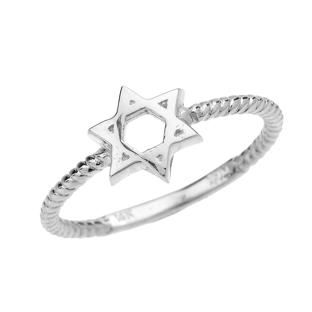 Twisted Rope Band Jewish Star of David Ring in Sterling Silver - solid gold, solid gold jewelry, handmade solid gold jewelry, handmade jewelry, handmade designer jewelry, solid gold handmade designer jewelry, chic jewelry, trendy jewelry, trending jewelry, jewelry that's trending, handmade chic jewelry, handmade trendy jewelry, mod-chic jewelry, handmade mod-chic jewelry, designer jewelry, chic designer jewelry, handmade designer, affordable jewelry
