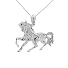 Load image into Gallery viewer, Running Stallion Race Horse Pendant in Sterling Silver (hollow back) - solid gold, solid gold jewelry, handmade solid gold jewelry, handmade jewelry, handmade designer jewelry, solid gold handmade designer jewelry, chic jewelry, trendy jewelry, trending jewelry, jewelry that's trending, handmade chic jewelry, handmade trendy jewelry, mod-chic jewelry, handmade mod-chic jewelry, designer jewelry, chic designer jewelry, handmade designer, affordable jewelry