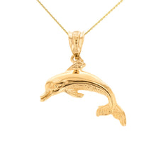 Load image into Gallery viewer, Jumping Dolphin Ocean Sea Animal Pendant in Gold - solid gold, solid gold jewelry, handmade solid gold jewelry, handmade jewelry, handmade designer jewelry, solid gold handmade designer jewelry, chic jewelry, trendy jewelry, trending jewelry, jewelry that's trending, handmade chic jewelry, handmade trendy jewelry, mod-chic jewelry, handmade mod-chic jewelry, designer jewelry, chic designer jewelry, handmade designer