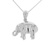 Load image into Gallery viewer, Lucky Elephant Animal Pendant in Sterling Silver - solid gold, solid gold jewelry, handmade solid gold jewelry, handmade jewelry, handmade designer jewelry, solid gold handmade designer jewelry, chic jewelry, trendy jewelry, trending jewelry, jewelry that's trending, handmade chic jewelry, handmade trendy jewelry, mod-chic jewelry, handmade mod-chic jewelry, designer jewelry, chic designer jewelry, handmade designer