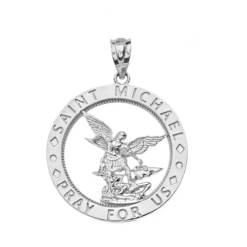 Saint Michael Pray for Us Round Charm Pendant and Necklace in Sterling Silver