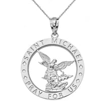 Load image into Gallery viewer, Saint Michael Pray for Us Round Charm Pendant and Necklace in Sterling Silver