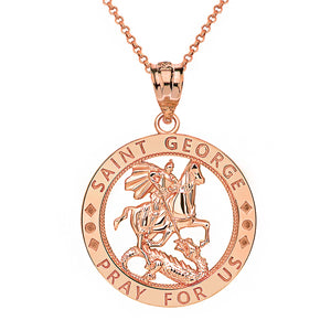 Saint George Pray for Us Round Charm Pendant and Necklace in Gold