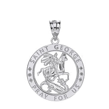 Load image into Gallery viewer, Saint George Pray for Us Round Charm Pendant and Necklace in Gold