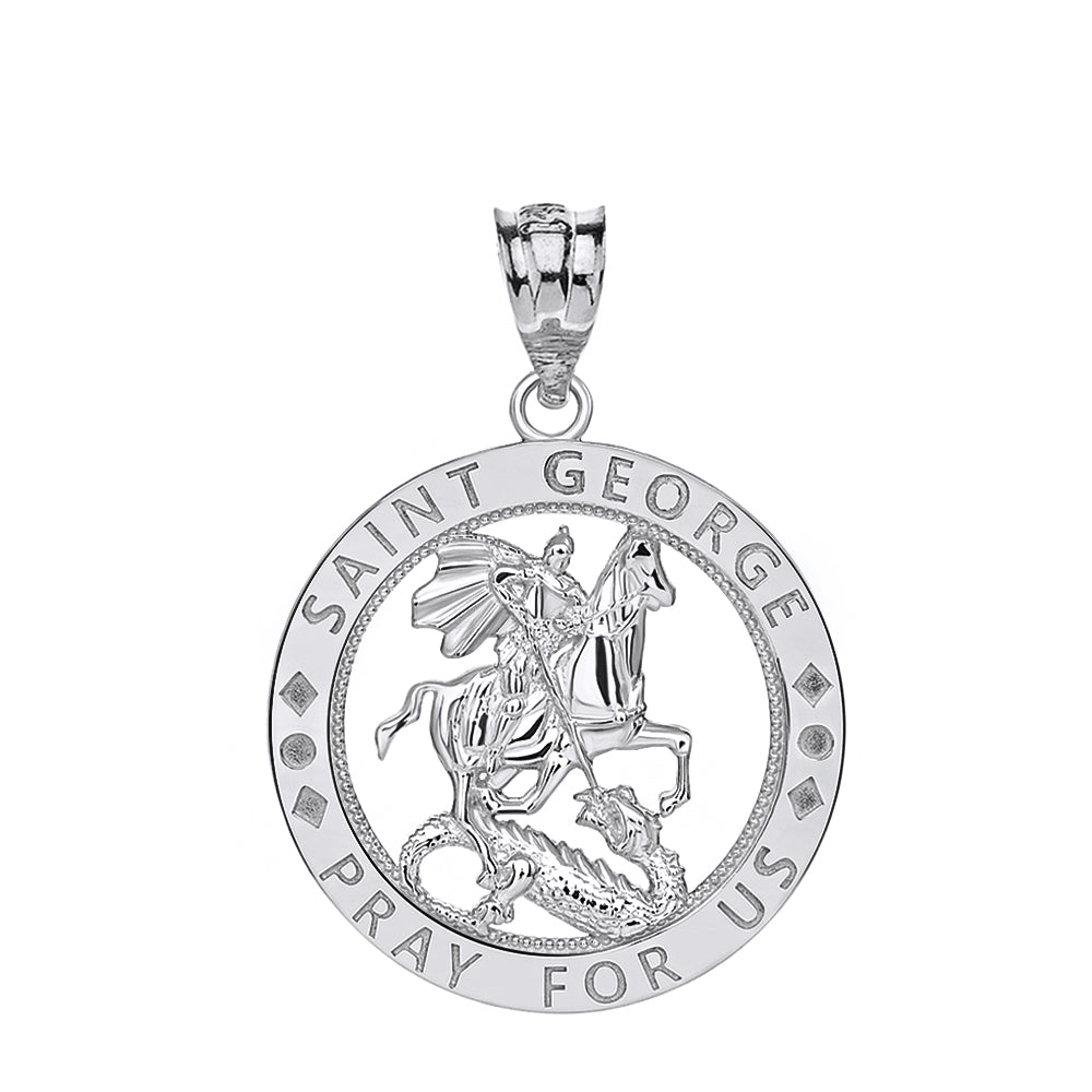 Saint George Pray for Us Round Charm Pendant and Necklace in Sterling Silver