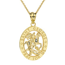 Load image into Gallery viewer, Saint George Pray for Us Oval Charm Pendant and Necklace in Gold