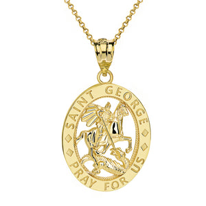 Saint George Pray for Us Oval Charm Pendant and Necklace in Gold