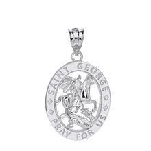 Load image into Gallery viewer, Saint George Pray for Us Oval Charm Pendant and Necklace in Sterling Silver
