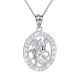 Saint George Pray for Us Oval Charm Pendant and Necklace in Sterling Silver