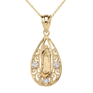 Shiny Beautiful Filigree Lady of Guadalupe Pendant Necklace in Two-Tone Gold