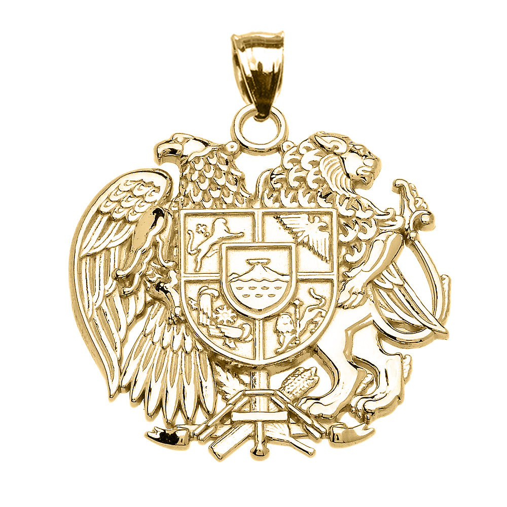 Armenian National Coat Of Arms Eagle and Lion Pendant in Gold