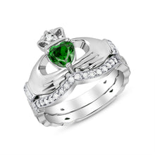 Load image into Gallery viewer, Irish Claddagh Braided Birthstone Ring Set in Sterling Silver (2 rings - Engagement and Wedding Ring)