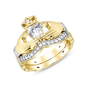Irish Claddagh Braided Birthstone Ring Set in Gold with Diamonds (2 rings - Engagement and Wedding Ring)