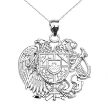 Load image into Gallery viewer, Armenian National Coat Of Arms Eagle and Lion Pendant in Sterling Silver