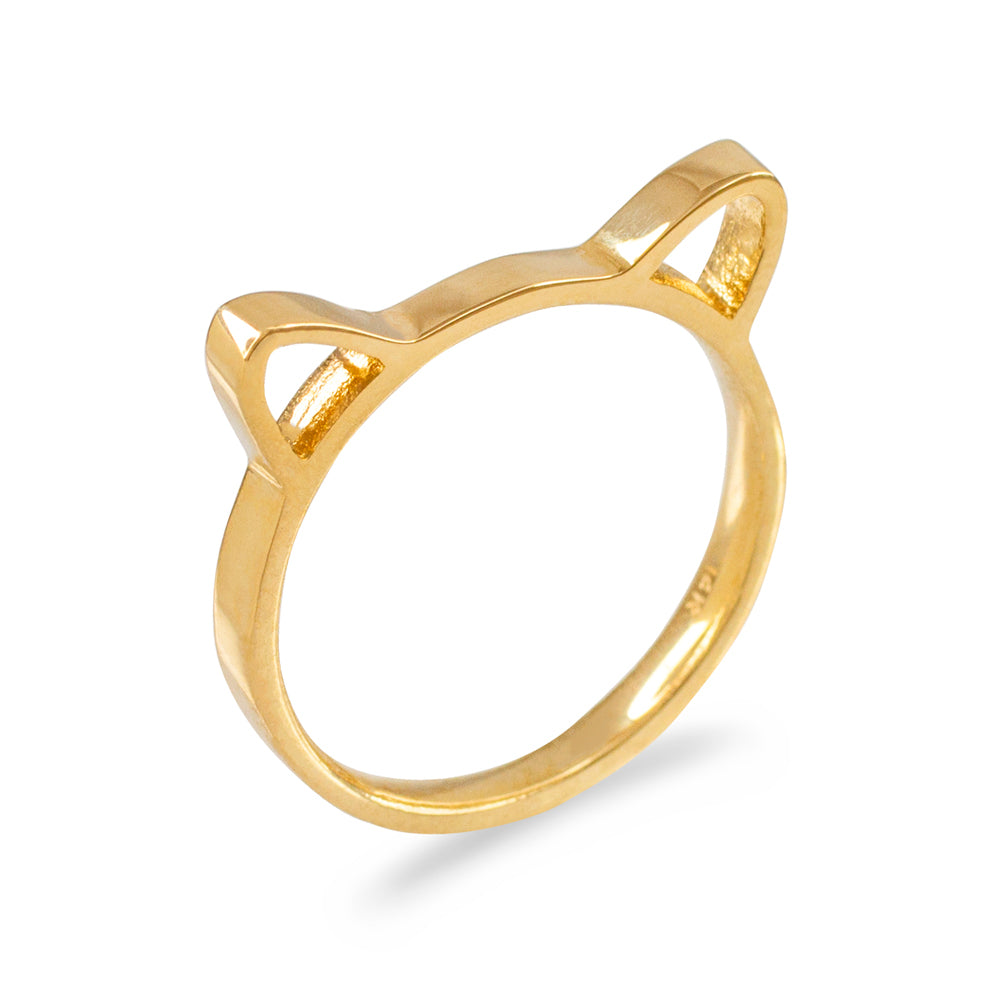 Kitty Cat Kitten Ears Stackable Ladies Ring in Gold - solid gold, solid gold jewelry, handmade solid gold jewelry, handmade jewelry, handmade designer jewelry, solid gold handmade designer jewelry, chic jewelry, trendy jewelry, trending jewelry, jewelry that's trending, handmade chic jewelry, handmade trendy jewelry, mod-chic jewelry, handmade mod-chic jewelry, designer jewelry, chic designer jewelry, handmade designer