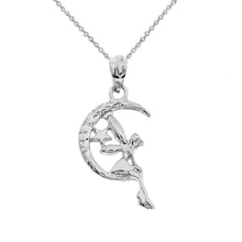 Load image into Gallery viewer, Tinkerbell Fairy Tale on The Moon Charm Pendant and Necklace in Gold