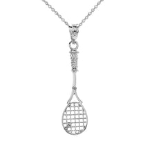 Load image into Gallery viewer, Tennis Racket Charm Pendant and Necklace in Sterling Silver