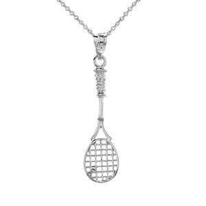 Tennis Racket Charm Pendant and Necklace in Sterling Silver