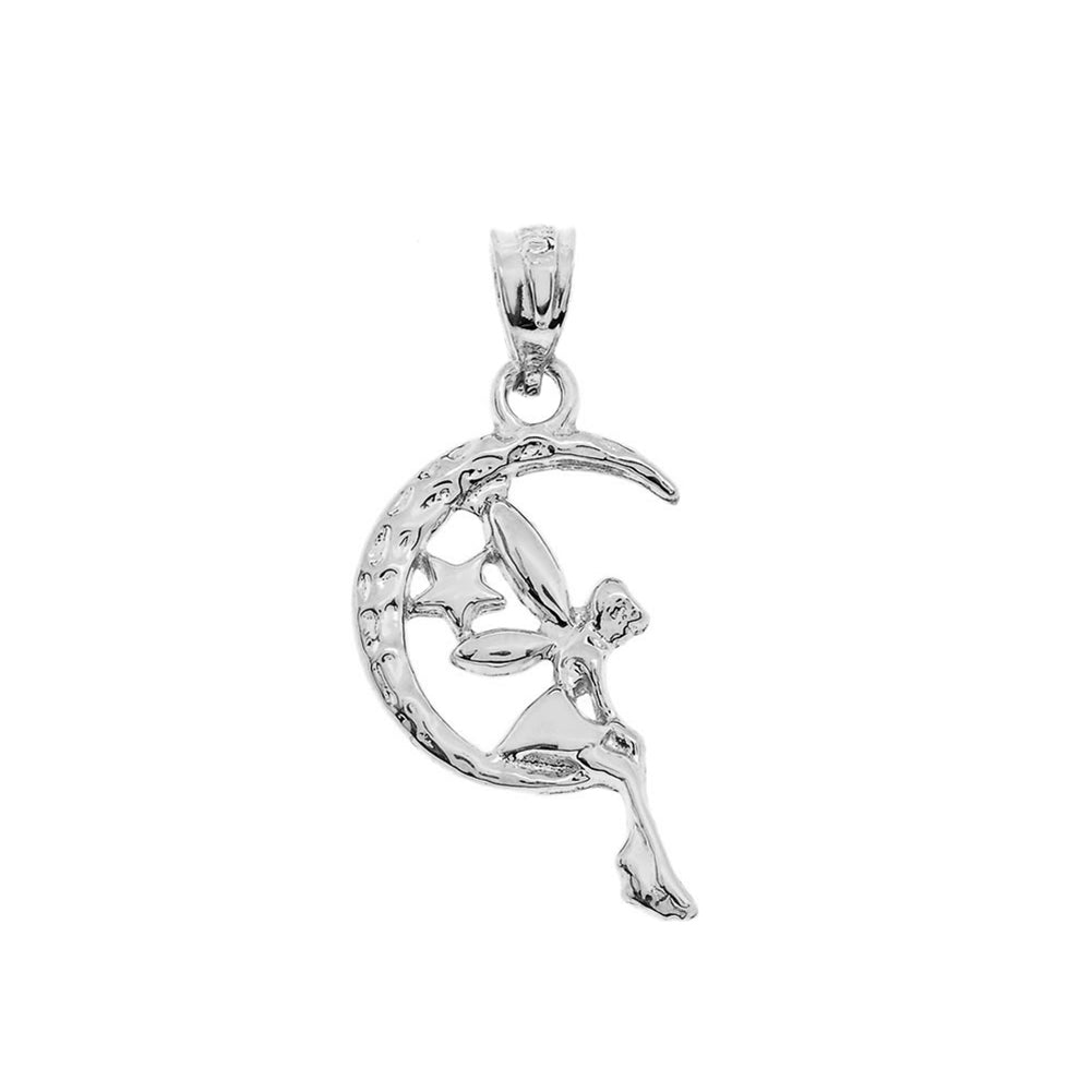 Tinkerbell Fairy Tale on The Moon Charm Pendant and Necklace in Sterling Silver