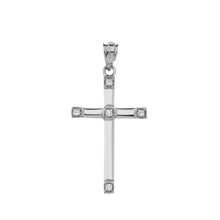 Load image into Gallery viewer, Classy Elegant Diamond Simple Cross Charm Pendant and Necklace in Sterling Silver