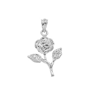 Rose Stem Charm Pendant and Necklace in Sterling Silver